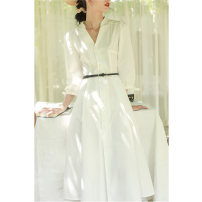 Dress Summer 2021 Cream white (with belt) S M L XL longuette singleton  three quarter sleeve commute V-neck High waist Decor Single breasted A-line skirt 25-29 years old Type A Yan Hong Retro YH19051 More than 95% polyester fiber Polyester 100%