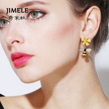 Earrings Alloy / silver / gold 51-100 yuan Jimele / qimili Tms12 bee gold brand new female Japan and South Korea goods in stock Fresh out of the oven other Plants and flowers TMS12 Spring of 2018 no Exclusive to tmall (only sold in tmall)