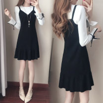 Dress Fall 2017 (long sleeve) knitted skirt 871 picture color 1902 picture color 1903 (short sleeve) knitted skirt 871-1 S M L XL Mid length dress Fake two pieces Long sleeves commute Crew neck High waist Solid color Socket A-line skirt routine camisole 18-24 years old Type A Kamewind Korean version