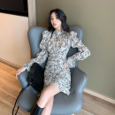 Women's large Winter 2020 Black, apricot S,M,L,XL Dress singleton  commute Straight cylinder moderate Socket Long sleeves Broken flowers Korean version Crew neck other routine DXH-5F-522H-36785-39 18-24 years old Short skirt