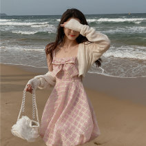 Dress Summer 2021 Apricot cardigan + pink dress S M L XL Short skirt singleton  Sleeveless commute square neck High waist Solid color Socket A-line skirt routine camisole 18-24 years old Shu Chen Splicing SC0621 More than 95% other Other 100%