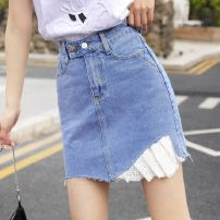 skirt Summer 2021 S M L XL wathet Short skirt commute High waist A-line skirt Solid color Type A 18-24 years old More than 95% Denim Hi Zi Shun other Button Other 100% Pure e-commerce (online only)