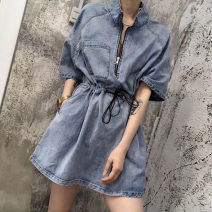 Dress Summer 2020 Picture color S M L XL Short skirt singleton  Short sleeve commute Polo collar High waist Solid color Socket A-line skirt Princess sleeve Others 18-24 years old Type A Hi Zi Shun Korean version Frenulum More than 95% Denim other Other 100% Pure e-commerce (online only)