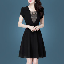 Dress Summer 2020 Black (stock) M L XL 2XL 3XL Middle-skirt singleton  Short sleeve commute square neck middle-waisted Solid color Socket A-line skirt routine Others 30-34 years old Type A Susie Li Korean version Stitching zipper More than 95% polyester fiber Pure e-commerce (online only)