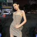 Women's large Spring 2021, summer 2021 Picture color Large L, large XL, m, 2XL, 3XL, 4XL Dress singleton  commute Sleeveless lattice Retro One word collar polyester fiber routine 18-24 years old backless Short skirt