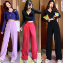 Women's large Spring 2020 Purple, red, black L suggests 100-120 Jin, XL suggests 120-140 Jin, XXL suggests 140-160 Jin, 3XL suggests 160-180 Jin, 4XL suggests 180-200 Jin trousers singleton  commute easy Socket Solid color Korean version polyester 18-24 years old Three dimensional decoration trousers