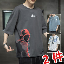 T-shirt Youth fashion routine M L XL 2XL 3XL UNS Short sleeve Crew neck easy Other leisure summer UNSMYY3755 Cotton 100% youth routine tide Knitted fabric Summer 2021 character printing cotton Figure pattern No iron treatment Fashion brand Pure e-commerce (online only) More than 95%