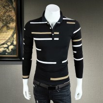 Polo shirt Ume Uko / no customer search Fashion City routine Black, white M,L,XL,2XL,3XL,4XL Self cultivation business affairs autumn Long sleeves Exquisite Korean style routine youth Cotton 95% polyurethane elastic fiber (spandex) 5% 2021 stripe Cotton ammonia No iron treatment printing