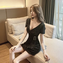Dress Summer 2020 S M L XL XXL Short skirt singleton  Short sleeve commute V-neck High waist Solid color Socket One pace skirt other Others 25-29 years old Type H Pamondo / pamondo Korean version More than 95% Lace polyester fiber Other polyester 95% 5% Pure e-commerce (online only)