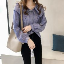 shirt Blue, black M,L,XL,2XL,3XL,4XL Summer 2020 other 96% and above Long sleeves commute Doll Collar Socket routine stripe 18-24 years old Straight cylinder Korean version Ruffle, lace, stitching, pleating