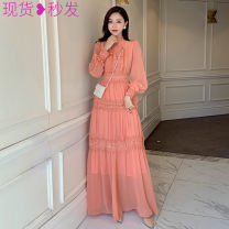 Dress Autumn 2020 Black, pink S,M,L longuette singleton  Long sleeves commute stand collar other Others 5771 ᦇ real shot with small video
