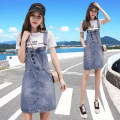 Dress Summer 2021 Blue - suit dress XS S M L XL 2XL Mid length dress Two piece set Short sleeve commute Crew neck High waist Solid color Socket A-line skirt routine straps 25-29 years old Type A Sea ornament Korean version Three dimensional decoration of pocket stitching Denim cotton