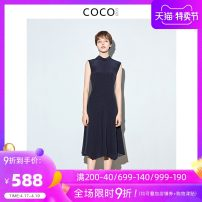 Dress Summer of 2019 Navy White S M L XL Mid length dress singleton  Sleeveless commute Half high collar middle-waisted zipper A-line skirt routine 30-34 years old COCOCOZI lady 192CP19 More than 95% silk Mulberry silk 100% Pure e-commerce (online only)