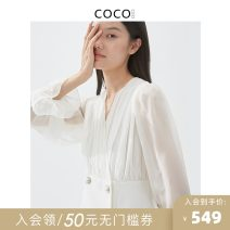 Dress Autumn 2020 white S M L XL Short skirt singleton  Long sleeves commute V-neck Solid color double-breasted puff sleeve 30-34 years old COCOCOZI lady 203CN35 More than 95% silk Mulberry silk 100% Pure e-commerce (online only)