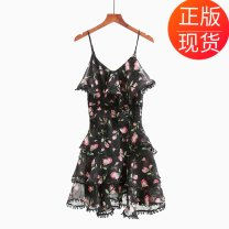 Dress Summer of 2018 XS singleton  Sleeveless commute V-neck High waist Broken flowers Socket A-line skirt camisole 25-29 years old Type A Korean version