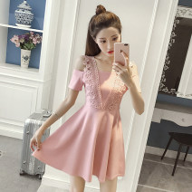 Dress Summer of 2019 Black, pink XS,S,M,L,XL,2XL Middle-skirt singleton  Short sleeve commute square neck middle-waisted Solid color zipper Princess Dress other Others 18-24 years old Type A Other / other Korean version zipper 81% (inclusive) - 90% (inclusive)