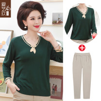 Middle aged and old women's wear Spring 2021 Red + spring and autumn Pants Red + Khaki Pants Green + spring and autumn Pants Green + Khaki Pants Red Green XL [about 105 kg recommended] 2XL [about 120 kg recommended] 3XL [about 135 kg recommended] 4XL [about 145-155 kg recommended] fashion T-shirt