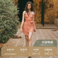 Dress Spring of 2019 S M L XS Short skirt singleton  Sleeveless Sweet square neck High waist lattice Socket Irregular skirt other camisole 18-24 years old Type A since then 31% (inclusive) - 50% (inclusive) other cotton Mori Pure e-commerce (online only)