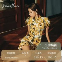 Dress Autumn 2020 Fabric from stock is comfortable, light and breathable S M L Short skirt singleton  Short sleeve commute High waist Broken flowers Others 18-24 years old since then Retro DQ2005134 More than 95% other Other 100% Pure e-commerce (online only)