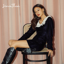 Dress Winter 2020 Take pictures of delivery within 7 days (in stock) S M L Short skirt singleton  Long sleeves commute High waist Solid color 18-24 years old since then Retro DQ200929 More than 95% polyester fiber Polyethylene terephthalate (polyester) 100%