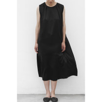 Dress Summer 2020 black S. M, l, customized within 10 days Mid length dress singleton  Sleeveless street Crew neck Loose waist Solid color Three buttons Big swing other straps 25-29 years old Type A JUZININE More than 95% Silk and satin silk Europe and America