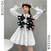 Women's large Spring 2021 White, bow waistcoat S,M,L Dress Two piece set commute easy moderate Socket Long sleeves Solid color Korean version Crew neck Medium length printing and dyeing routine 25-29 years old Short skirt Pleated skirt bow