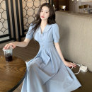 Dress Summer 2020 Blue dress S M L XL longuette singleton  Short sleeve commute Admiral High waist Solid color Socket A-line skirt puff sleeve Others 18-24 years old Type A Dream of clothes Korean version Button More than 95% Chiffon polyester fiber Polyester 100% Pure e-commerce (online only)