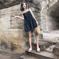 Dress Summer of 2018 black SMLXL Short skirt singleton  Sleeveless commute One word collar Loose waist Solid color Socket A-line skirt camisole 18-24 years old Type A Dream of clothes Korean version Open back fold Polyester 100% Pure e-commerce (online only)