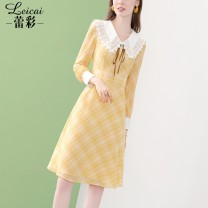 Dress Spring 2021 yellow S M L XL XXL XXXL Mid length dress singleton  Long sleeves commute Doll Collar middle-waisted Solid color zipper A-line skirt shirt sleeve 35-39 years old Type A Lei CAI Ol style Pleated, pleated, crocheted, hollow stitched button and zipper print L21CL33945 More than 95%