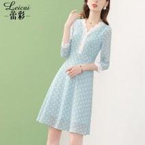 Dress Spring 2021 blue S M L XL XXL XXXL Middle-skirt singleton  Nine point sleeve commute V-neck middle-waisted Dot zipper A-line skirt puff sleeve 35-39 years old Type A Lei CAI Ol style Three dimensional decorative zipper with hollow stitching L21CL34123 More than 95% polyester fiber