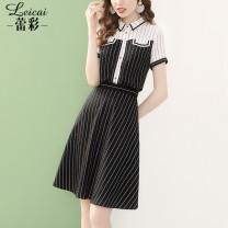 Fashion suit Summer 2020 S M L XL XXL XXXL Suit (black) top (black) skirt (black) Over 35 years old Lei CAI L20X32835 Polyester 100%