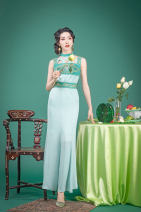 Dress Spring 2020 green S L longuette Sleeveless Sweet Crew neck High waist other other Others 30-34 years old Magic Q by lou More than 95% polyester fiber Polyester 100% Pure e-commerce (online only)