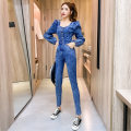 Casual pants Blue [Jumpsuit] S M L XL Spring 2021 trousers Haren pants High waist commute routine 25-29 years old 96% and above 2-19GFR2502 Hong Kong fu'er cotton Korean version pocket nylon New polyester fiber 100% Exclusive payment of tmall