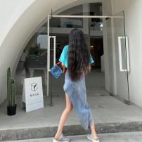 skirt Summer 2020 S,M,L,XL blue Mid length dress Versatile High waist Irregular Solid color Type A 18-24 years old cotton