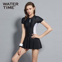 one piece  WATERTIME S M L XL Black plus purchase collection = priority delivery [don't pat this item] high waist skirt conservative and thin [don't pat this item] Skirt one piece With chest pad without steel support Nylon, spandex and others W-221127992035 Spring 2021 no female Short sleeve