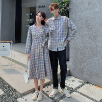 Dress Autumn 2020 Plaid Dress for women and plaid shirt for men S,M,L,XL,2XL longuette Long sleeves commute tailored collar High waist lattice double-breasted A-line skirt routine 18-24 years old Type A Other / other Korean version 51% (inclusive) - 70% (inclusive) cotton