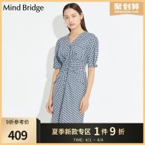 Dress Summer 2020 Blue yellow 155/S 160/M 165/L 170/XL Mid length dress singleton  Short sleeve commute V-neck middle-waisted Broken flowers Single breasted Irregular skirt routine 25-29 years old Mind Bridge Korean version MUOP321K 51% (inclusive) - 70% (inclusive) other
