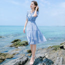 Dress Summer of 2019 Blue ykd19a635 S M L XL Mid length dress singleton  Short sleeve Sweet V-neck 25-29 years old Type A Icaday YKD19A635 More than 95% polyester fiber Polyester 100% Bohemia Pure e-commerce (online only)