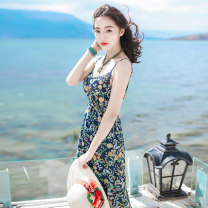 Dress Spring 2020 S M L XL longuette singleton  Sleeveless commute V-neck High waist Decor Socket Big swing camisole 25-29 years old Type A Icaday printing More than 95% polyester fiber Polyester 100%