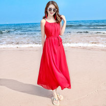 Dress Fall 2017 Red ykd17b409 S M L XL longuette singleton  Sleeveless Sweet Crew neck High waist Solid color Socket Big swing routine camisole 25-29 years old Type A Icaday YKD17B409 More than 95% Chiffon polyester fiber Polyester 100% Bohemia Pure e-commerce (online only)