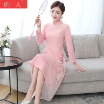 Dress Winter 2020 Pink M L XL 2XL 3XL Mid length dress singleton  Long sleeves commute stand collar middle-waisted Solid color Socket other routine Others 18-24 years old Type A Example person ethnic style Embroidery More than 95% other Other 100.00%