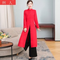 Dress Winter 2020 gules M L XL 2XL longuette singleton  Long sleeves commute stand collar middle-waisted Solid color Single breasted A-line skirt routine Others 18-24 years old Type H Example person literature nKd7O6V More than 95% Wool other Other 100.00%