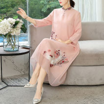 Middle aged and old women's wear Autumn 2020 Blue Pink commute Dress easy singleton  Solid color 40-49 years old Socket stand collar other Daoyi other Other 100% 96% and above Pure e-commerce (online only) longuette other Retro