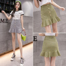 skirt Summer 2020 S M L XL Black and yellow Short skirt Versatile High waist A-line skirt lattice Type A 25-29 years old SQJ7319 More than 95% other Star girl other Other 100% Pure e-commerce (online only)