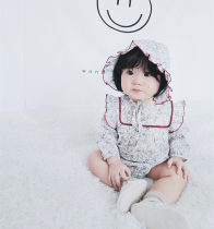 Jumpsuit / climbing suit / Khaki Yuner's mother Class A female Broken flowers 59cm 66cm 73cm 80cm 90cm 100cm cotton spring and autumn Long sleeves Long climb leisure time There are models in the real shooting Detachable cap Cotton 95% other 5% Socket