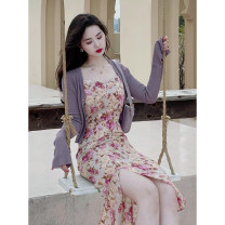 Dress Spring 2021 Cardigan + suspender skirt S M L XL Mid length dress Two piece set Long sleeves commute V-neck High waist Decor zipper Pencil skirt routine Others 18-24 years old Dolu Retro DL9337 51% (inclusive) - 70% (inclusive) polyester fiber Polyester 70% other 30%