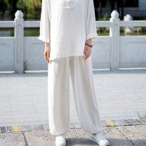 Casual pants White, hemp Average size Autumn of 2019 trousers Natural waist commute routine 25-29 years old 51% (inclusive) - 70% (inclusive) hemp literature hemp