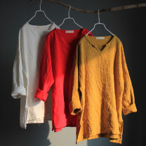 shirt White, yellow, red Average size Fall 2017 hemp 51% (inclusive) - 70% (inclusive) Long sleeves commute Medium length V-neck Socket routine Solid color Straight cylinder literature