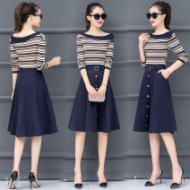 Dress Autumn of 2018 S M L XL 2XL Middle-skirt Two piece set Long sleeves commute Slant collar middle-waisted stripe Socket A-line skirt routine 18-24 years old Korean version 30% and below polyester fiber Viscose (viscose) 69.9% polyester 30.1% Pure e-commerce (online only)