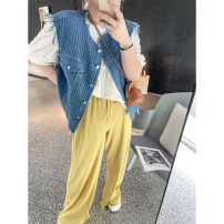 Women's large Summer 2021 Denim blue Size 2 [for l-xl], size 3 [for 2xl-3xl], size 4 [for 4XL], size 5 [for 5XL] Vest singleton  commute easy moderate Cardigan Sleeveless Solid color Korean version Crew neck routine Three dimensional cutting other 46Q Button